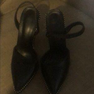"Shoes - black leather closed toe sling back 4"" heels"